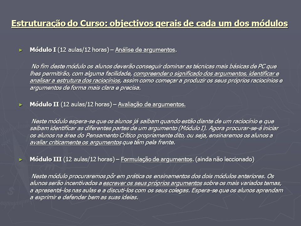 Estruturação do Curso: objectivos gerais de cada um dos módulos Módulo I (12 aulas/12 horas) – Análise de argumentos. Módulo I (12 aulas/12 horas) – A