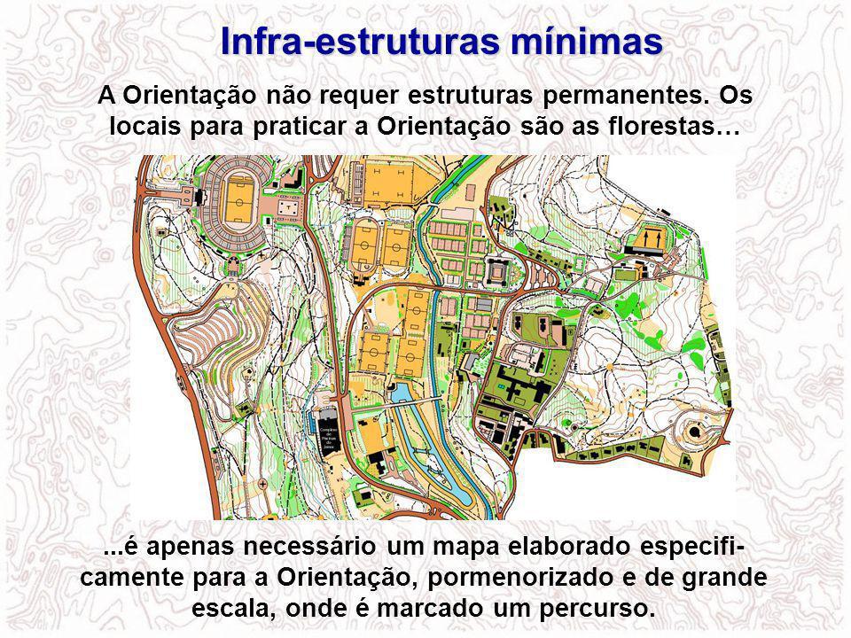 Infra-estruturas mínimas A Orientação não requer estruturas permanentes. Os locais para praticar a Orientação são as florestas…...é apenas necessário