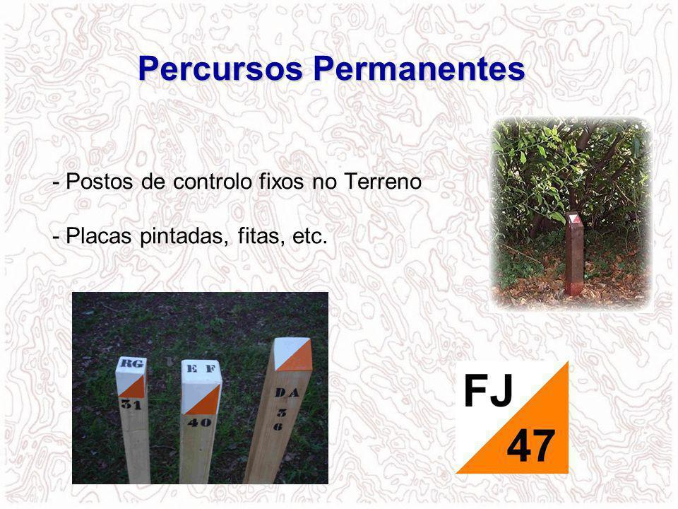 - Postos de controlo fixos no Terreno - Placas pintadas, fitas, etc. Percursos Permanentes