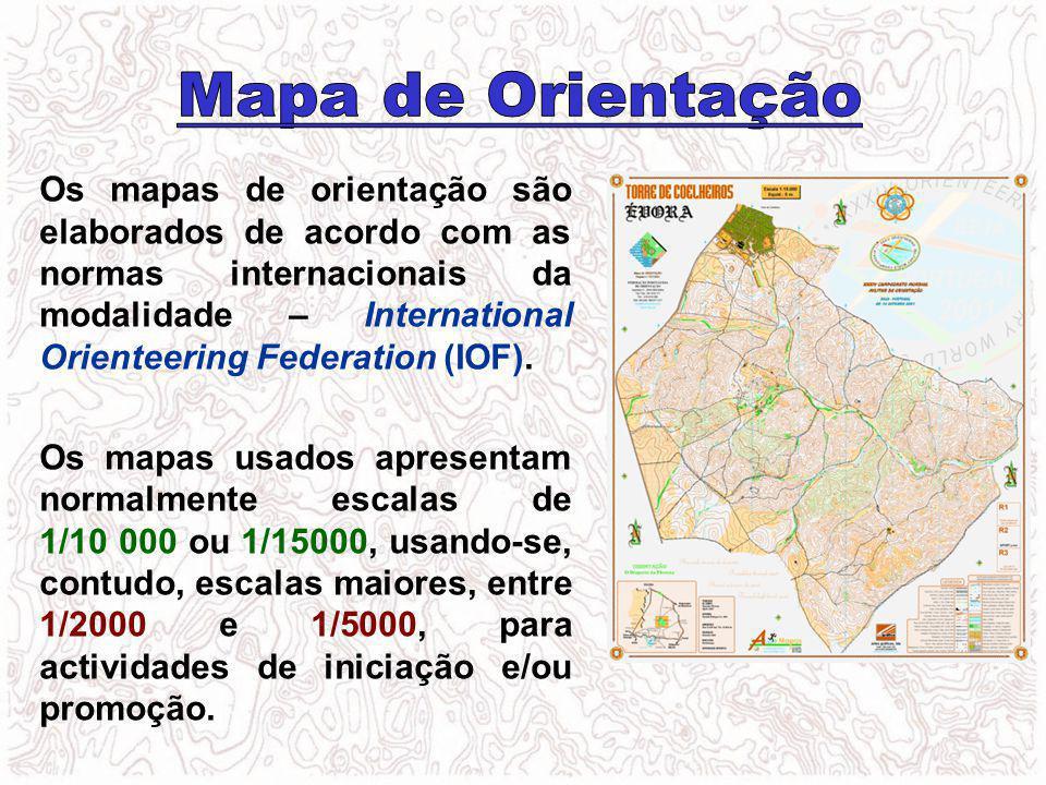 Os mapas de orientação são elaborados de acordo com as normas internacionais da modalidade – International Orienteering Federation (IOF). Os mapas usa