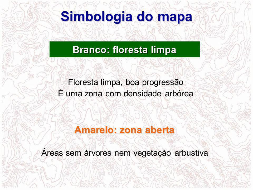 Floresta limpa, boa progressão É uma zona com densidade arbórea Branco: floresta limpa Amarelo: zona aberta Áreas sem árvores nem vegetação arbustiva