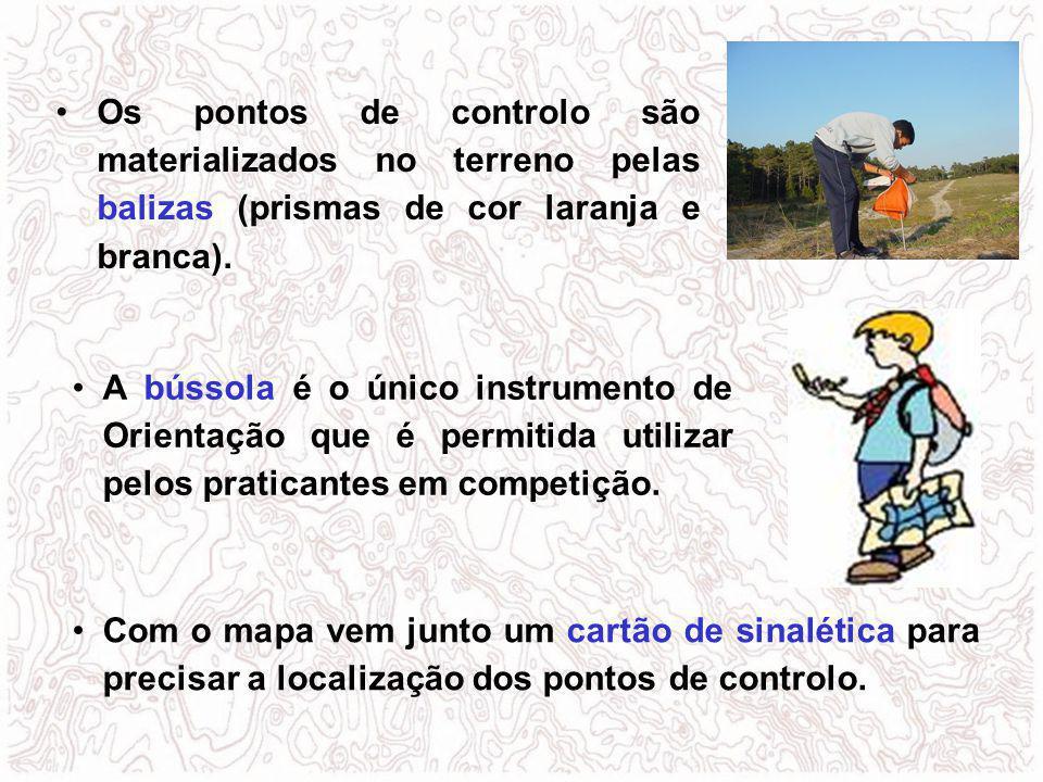 A bússola é o único instrumento de Orientação que é permitida utilizar pelos praticantes em competição. Com o mapa vem junto um cartão de sinalética p