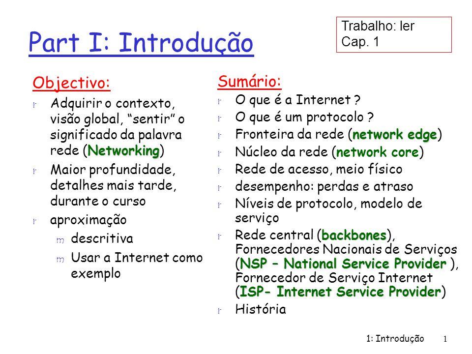 1: Introdução2 O que é a Internet: A visão dos componentes (HW,SW) ) r Milhões de dispositivos de computação interligados: Equipamentos Terminais (hosts, end-systems) workstationsservers m PCs, Estações de Trabalho (workstations), Servidores (servers) m PDAs, Telefones, Torradeiras Network Application Programs r Executando Aplicações da Rede ( Network Application Programs ) m Acesso a Web Pages m E-mail m Transferência de ficheiros r Ligações (links) m Fibra, cobre, rádio, satélite m Ligações diferentes transmitem dados a ritmos diferentes bandwidth m Ritmo de transmissão: largura de banda (bandwidth) r Encaminhadores (routers): enviam os pacotes através da rede local ISP company network regional ISP router workstation server mobile