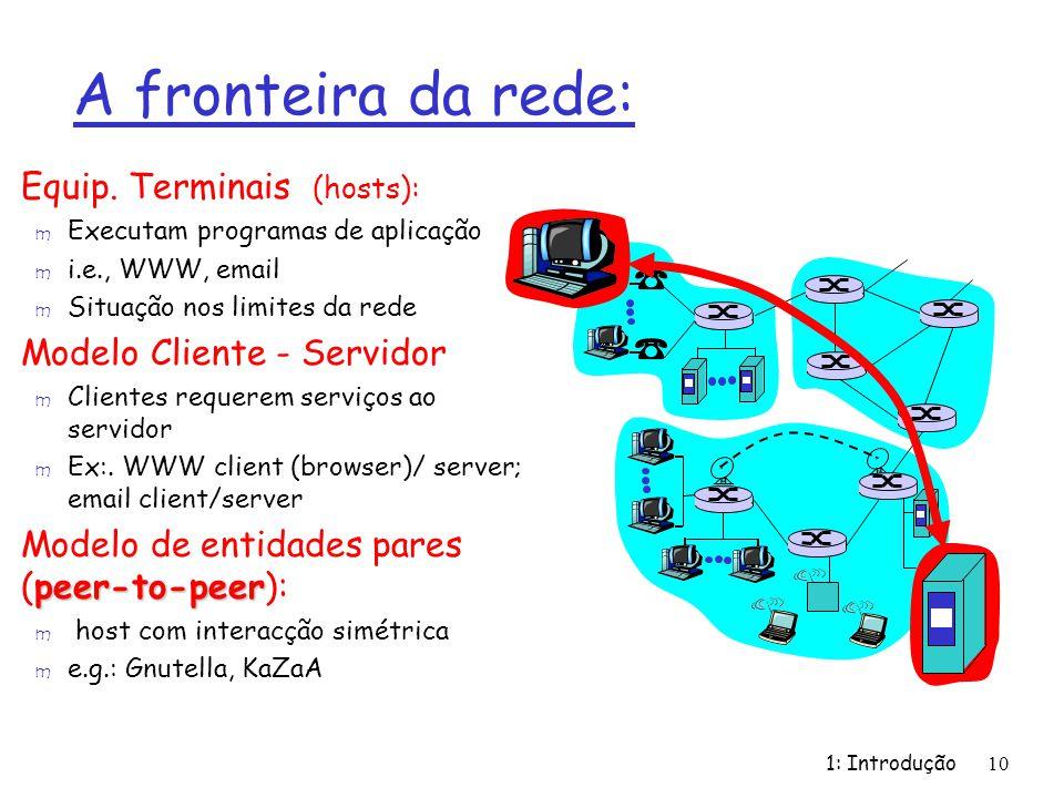 1: Introdução10 A fronteira da rede: r Equip. Terminais (hosts): m Executam programas de aplicação m i.e., WWW, email m Situação nos limites da rede r