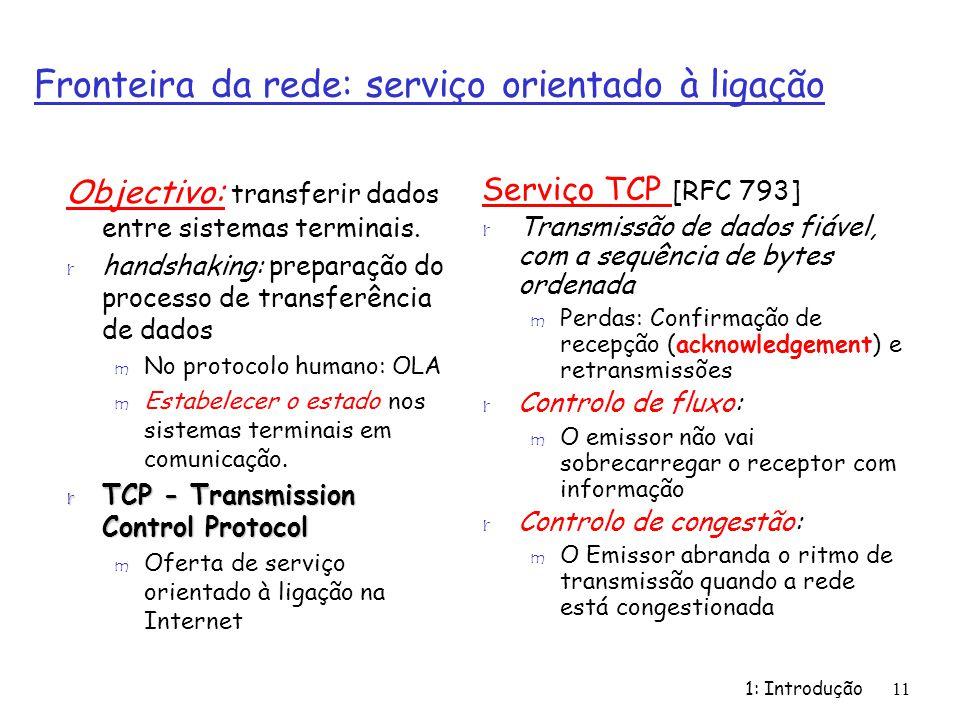 1: Introdução11 Fronteira da rede: serviço orientado à ligação Objectivo: transferir dados entre sistemas terminais. r handshaking: preparação do proc