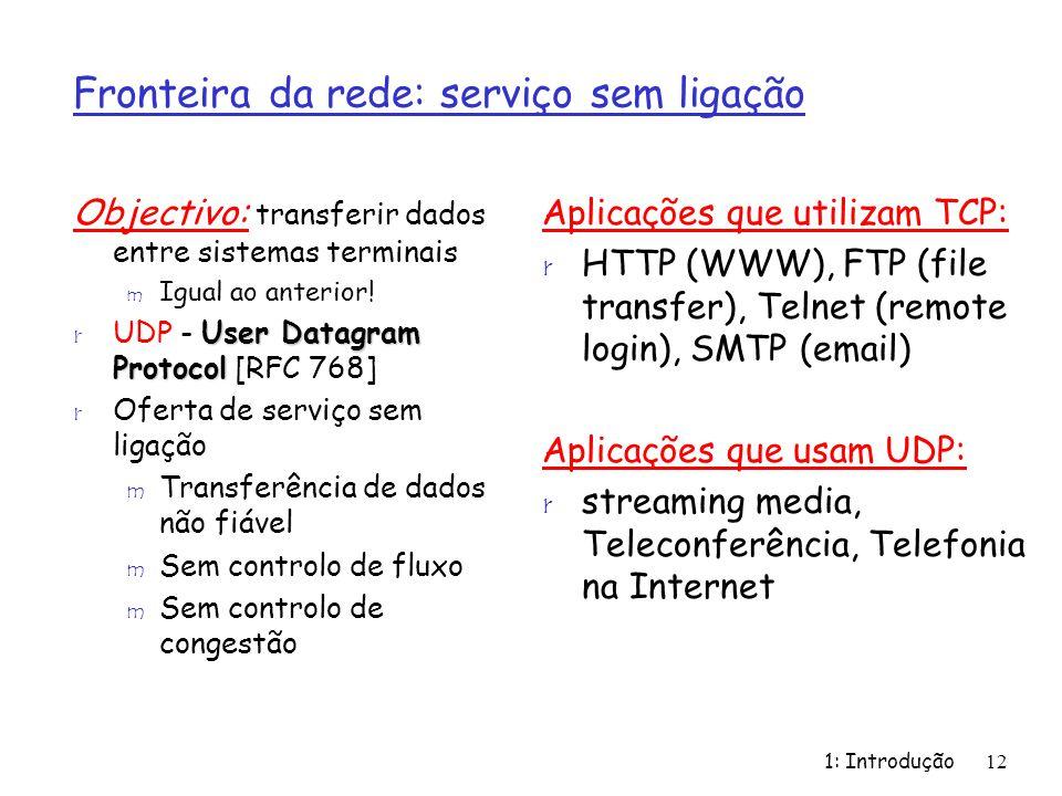1: Introdução12 Objectivo: transferir dados entre sistemas terminais m Igual ao anterior! User Datagram Protocol r UDP - User Datagram Protocol [RFC 7