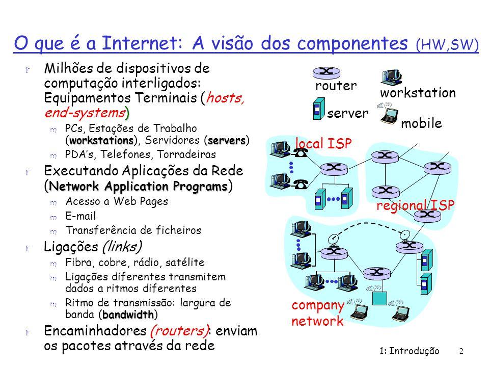 1: Introdução53 r 1970: rede de satélite ALOHAnet no Hawaii r 1973: A tese de doutoramente de Metcalfe propõe a Ethernet r 1974: Cerf and Kahn – arquitectura para interligação de redes r Fim dos anos 70: arquitecturas proprietárias: DECnet, SNA, XNA r Fim dos anos 70: comutação de pacotes de tamanho fixo (percursor do ATM) r 1979: ARPAnet tem 200 nós Príncipios de interfuncionamento de Cerf e Kahn: m Minimalista, autónomo – não é necessário realizar alterações internas para interligar as redes m Modelo de serviço best effort m Routers sem estado m Controlo descentralizado Define a arquitectura da Internet de hoje .