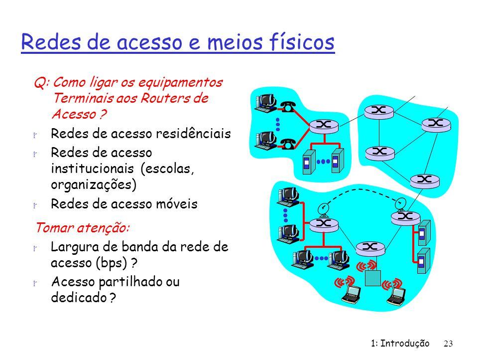 1: Introdução23 Redes de acesso e meios físicos Q: Como ligar os equipamentos Terminais aos Routers de Acesso ? r Redes de acesso residênciais r Redes