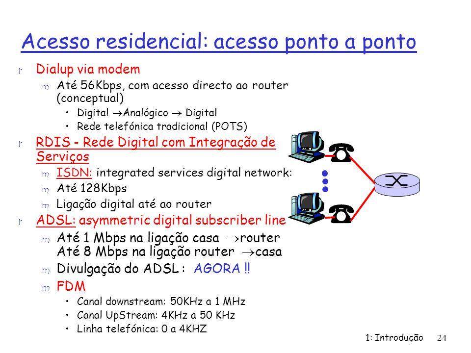 1: Introdução24 Acesso residencial: acesso ponto a ponto r Dialup via modem m Até 56Kbps, com acesso directo ao router (conceptual) Digital Analógico