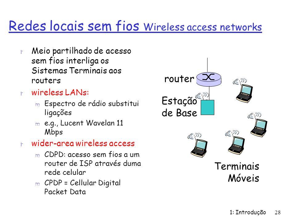 1: Introdução28 Redes locais sem fios Wireless access networks r Meio partilhado de acesso sem fios interliga os Sistemas Terminais aos routers r wire