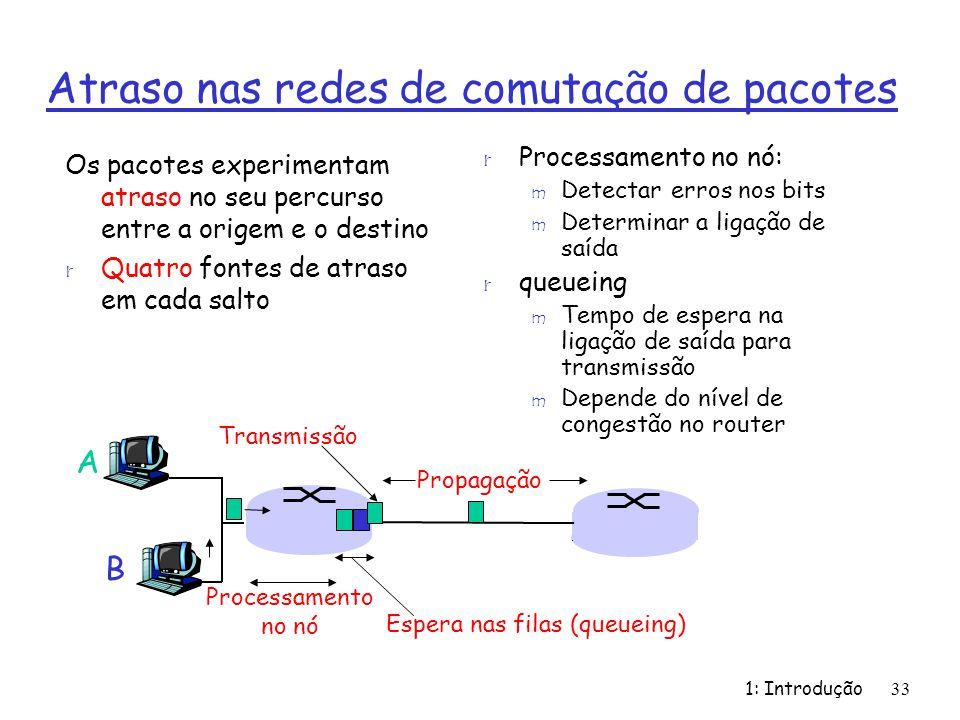 1: Introdução33 Atraso nas redes de comutação de pacotes Os pacotes experimentam atraso no seu percurso entre a origem e o destino r Quatro fontes de