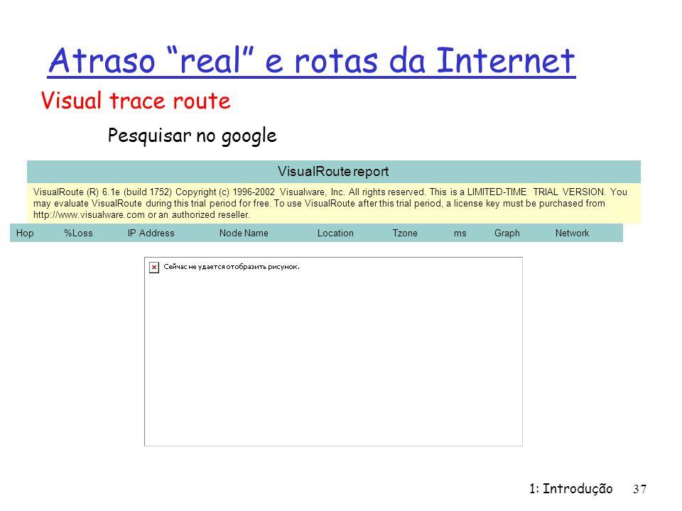1: Introdução37 Atraso real e rotas da Internet Visual trace route Pesquisar no google instalar e testar !!! VisualRoute report VisualRoute (R) 6.1e (