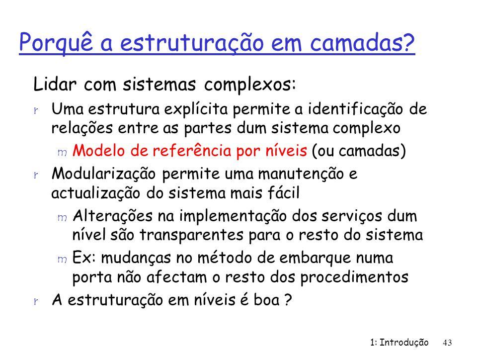 1: Introdução43 Porquê a estruturação em camadas? Lidar com sistemas complexos: r Uma estrutura explícita permite a identificação de relações entre as