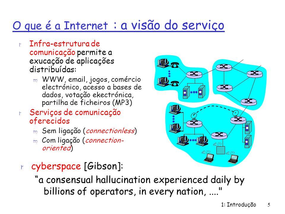 1: Introdução6 O que é a Internet : referências r Desenvolvimento da arquitectura Internet m Internet Engineering Task Force IETF – http: // www.ietf.org r Desenvolvimento de protocolos para World Wibe Web m World Wide Web Consortium WWW – http://www.w3.org/Consortium r Associações profissionais m Association for Computer Machinery ACM – http://www.acm.org m Institute of Electrical and Electronics Engineering IEEE – http://www.ieee.org r Grupos de interesse na área de redes m ACM Special Interest Group in Data Communications (SIGCOM) m IEEE Communication Society http://www.comsoc.org m IEEE Computer Society http://www.computer.org r Informação online m Data Communications http://www.data.com