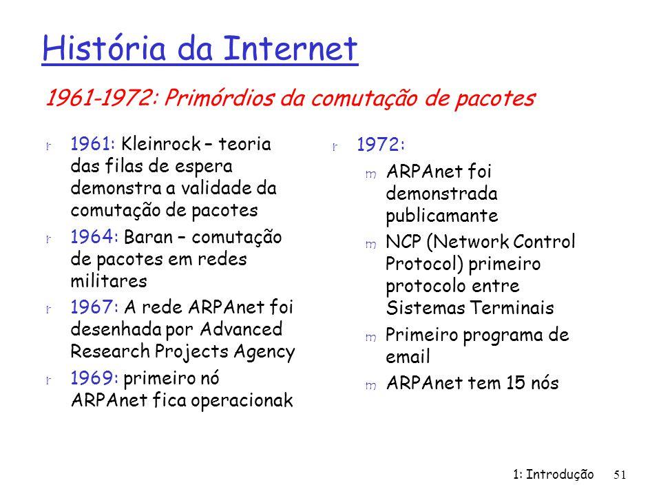 1: Introdução51 História da Internet r 1961: Kleinrock – teoria das filas de espera demonstra a validade da comutação de pacotes r 1964: Baran – comut
