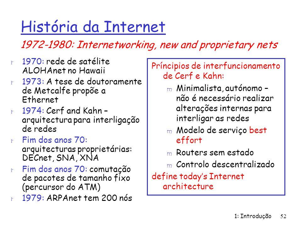 1: Introdução52 r 1970: rede de satélite ALOHAnet no Hawaii r 1973: A tese de doutoramente de Metcalfe propõe a Ethernet r 1974: Cerf and Kahn – arqui