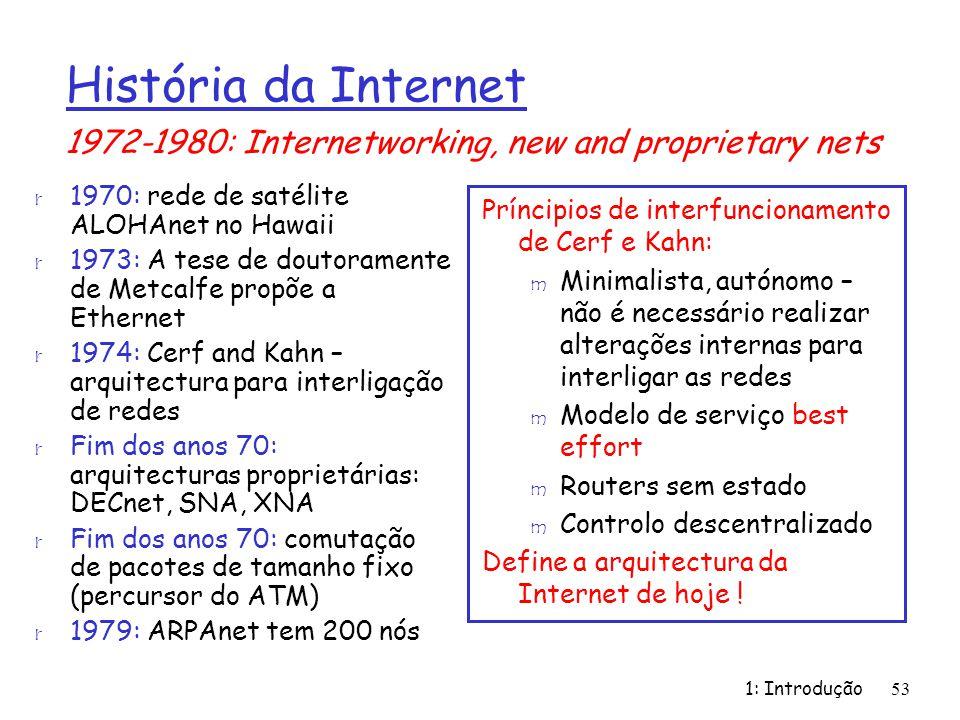 1: Introdução53 r 1970: rede de satélite ALOHAnet no Hawaii r 1973: A tese de doutoramente de Metcalfe propõe a Ethernet r 1974: Cerf and Kahn – arqui