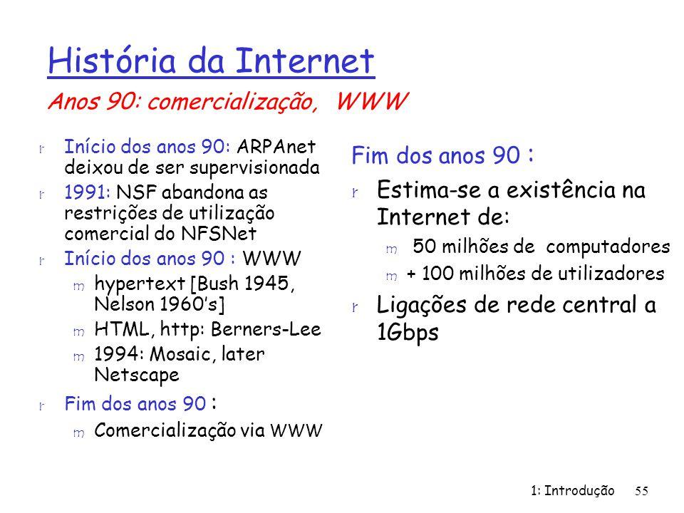 1: Introdução55 r Início dos anos 90: ARPAnet deixou de ser supervisionada r 1991: NSF abandona as restrições de utilização comercial do NFSNet r Iníc