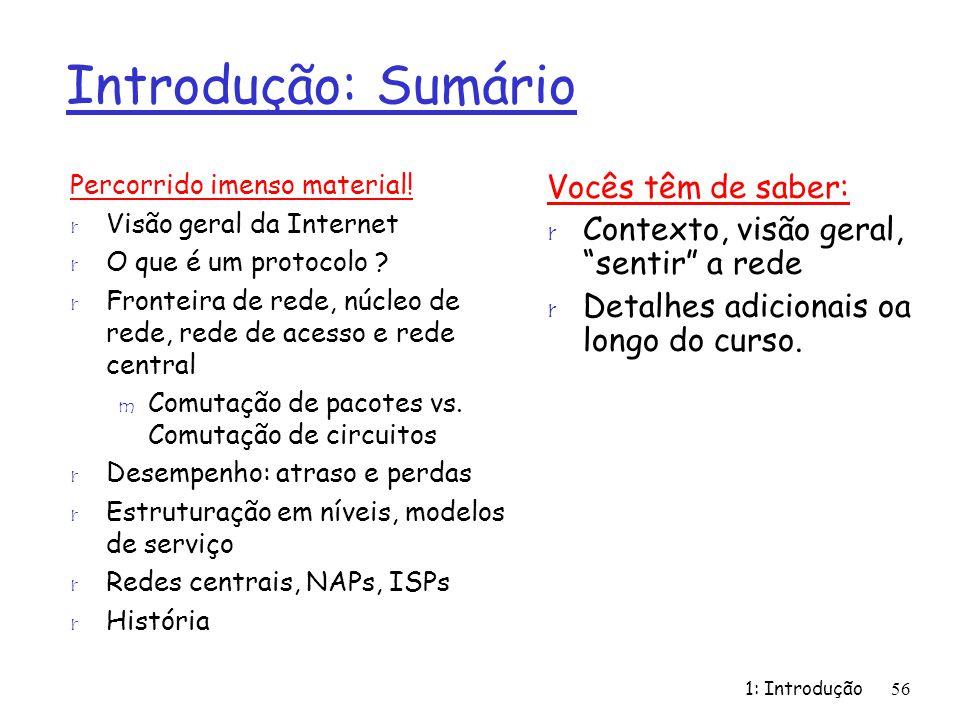 1: Introdução56 Introdução: Sumário Percorrido imenso material! r Visão geral da Internet r O que é um protocolo ? r Fronteira de rede, núcleo de rede