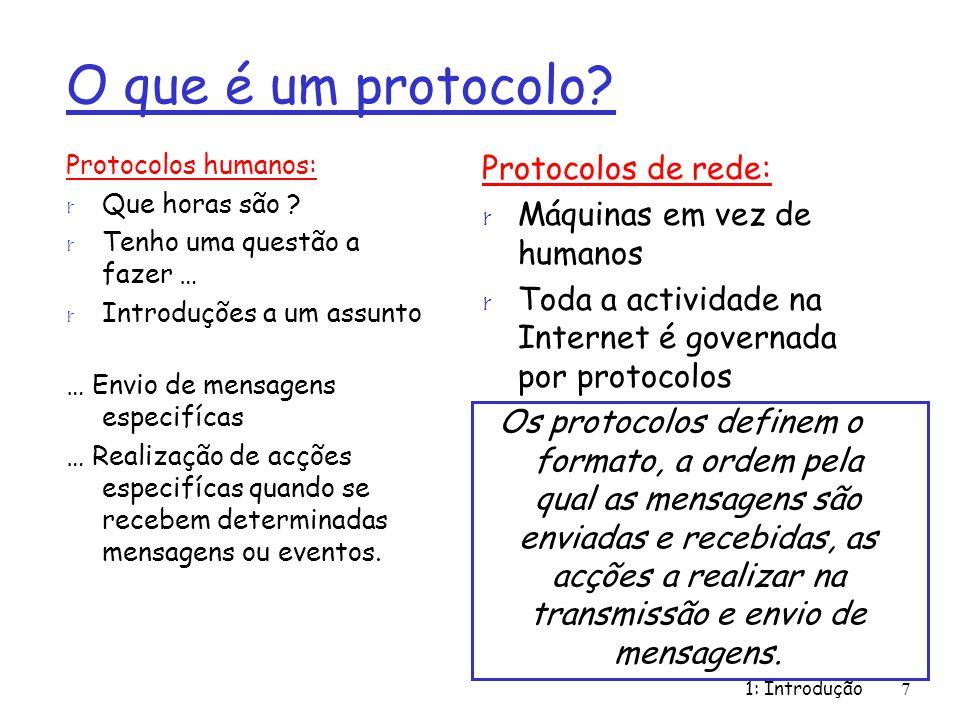 1: Introdução7 O que é um protocolo? Protocolos humanos: r Que horas são ? r Tenho uma questão a fazer … r Introduções a um assunto … Envio de mensage