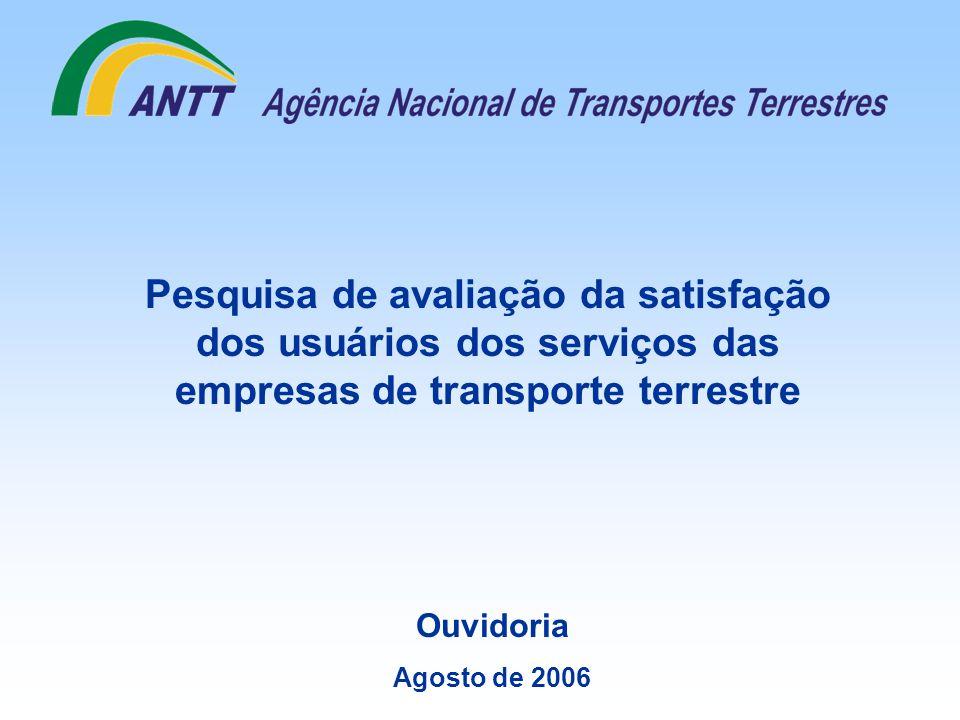 Ouvidoria Agosto de 2006 Pesquisa de avaliação da satisfação dos usuários dos serviços das empresas de transporte terrestre