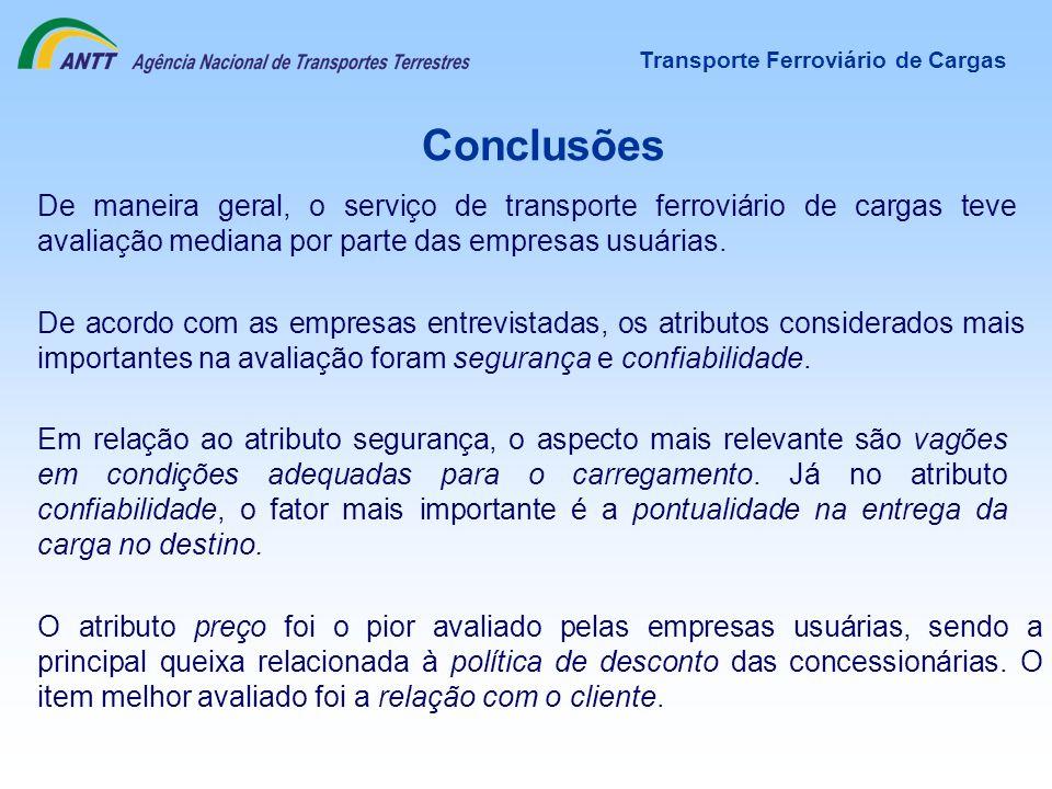 Conclusões O atributo preço foi o pior avaliado pelas empresas usuárias, sendo a principal queixa relacionada à política de desconto das concessionári
