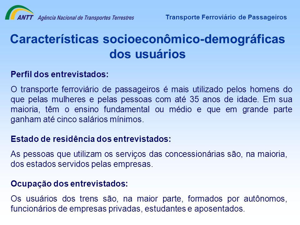 Características socioeconômico-demográficas dos usuários Perfil dos entrevistados: O transporte ferroviário de passageiros é mais utilizado pelos home