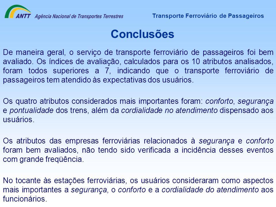 Transporte Ferroviário de Passageiros Conclusões De maneira geral, o serviço de transporte ferroviário de passageiros foi bem avaliado. Os índices de