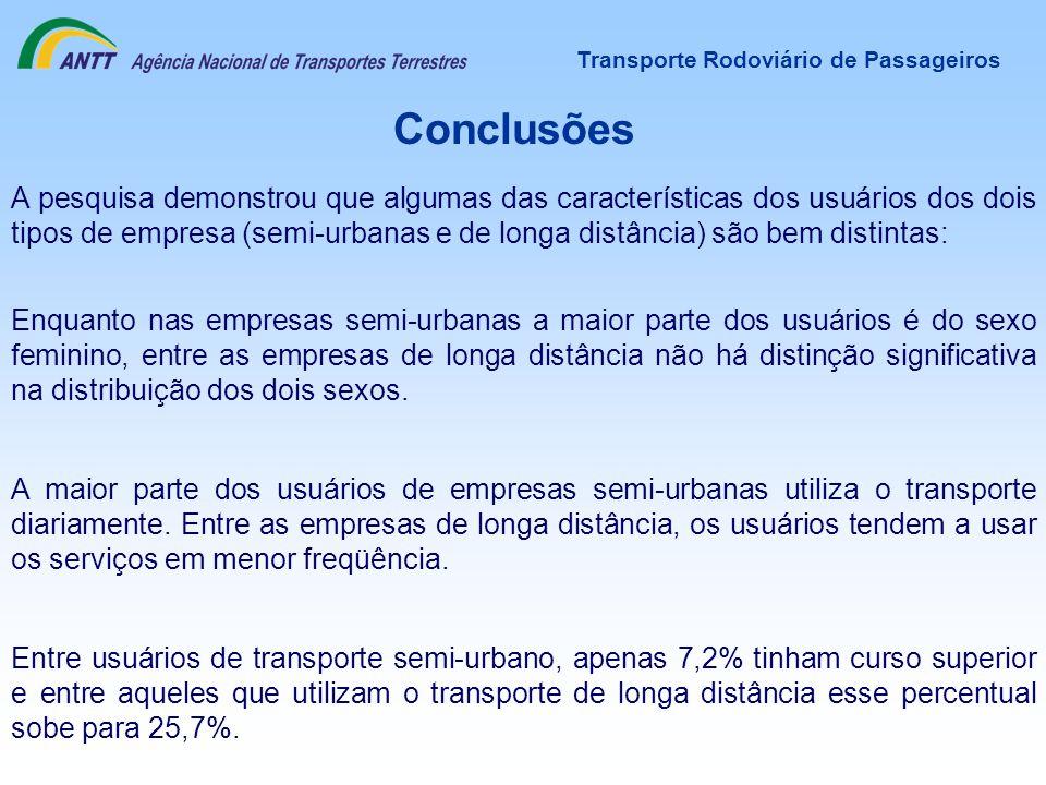 Transporte Rodoviário de Passageiros Conclusões A pesquisa demonstrou que algumas das características dos usuários dos dois tipos de empresa (semi-urb