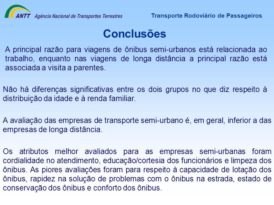 Transporte Rodoviário de Passageiros Conclusões A principal razão para viagens de ônibus semi-urbanos está relacionada ao trabalho, enquanto nas viage