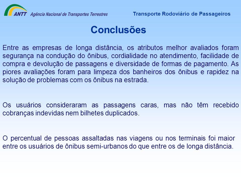Transporte Rodoviário de Passageiros Conclusões Entre as empresas de longa distância, os atributos melhor avaliados foram segurança na condução do ôni