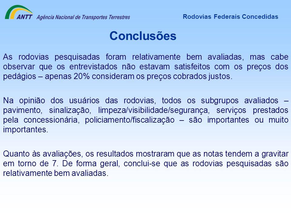 Conclusões Rodovias Federais Concedidas Na opinião dos usuários das rodovias, todos os subgrupos avaliados – pavimento, sinalização, limpeza/visibilid