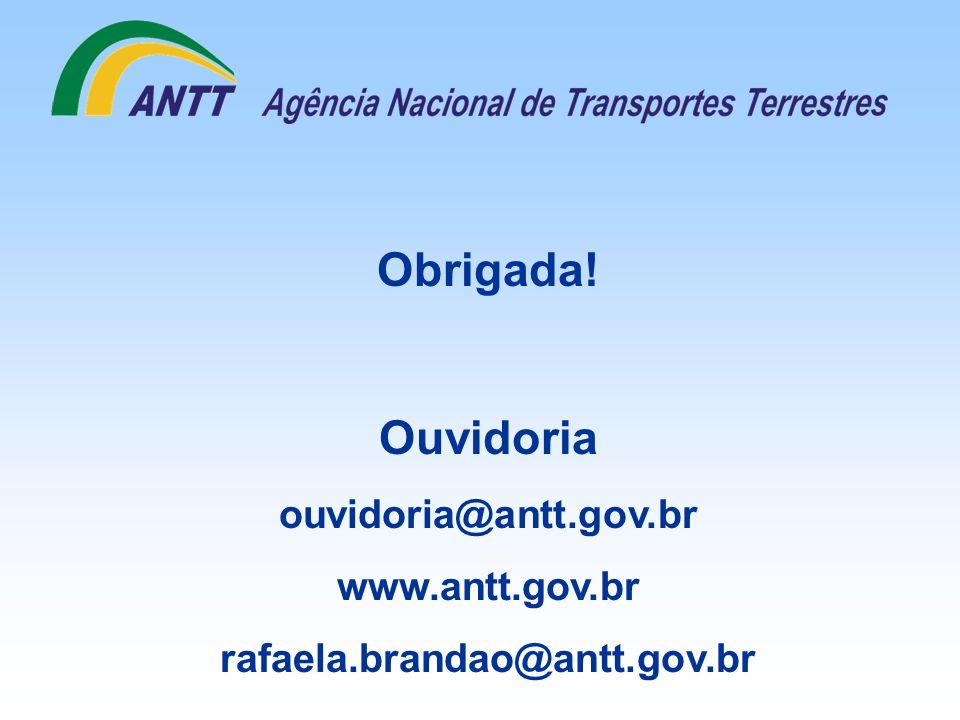Obrigada! Ouvidoria ouvidoria@antt.gov.br www.antt.gov.br rafaela.brandao@antt.gov.br