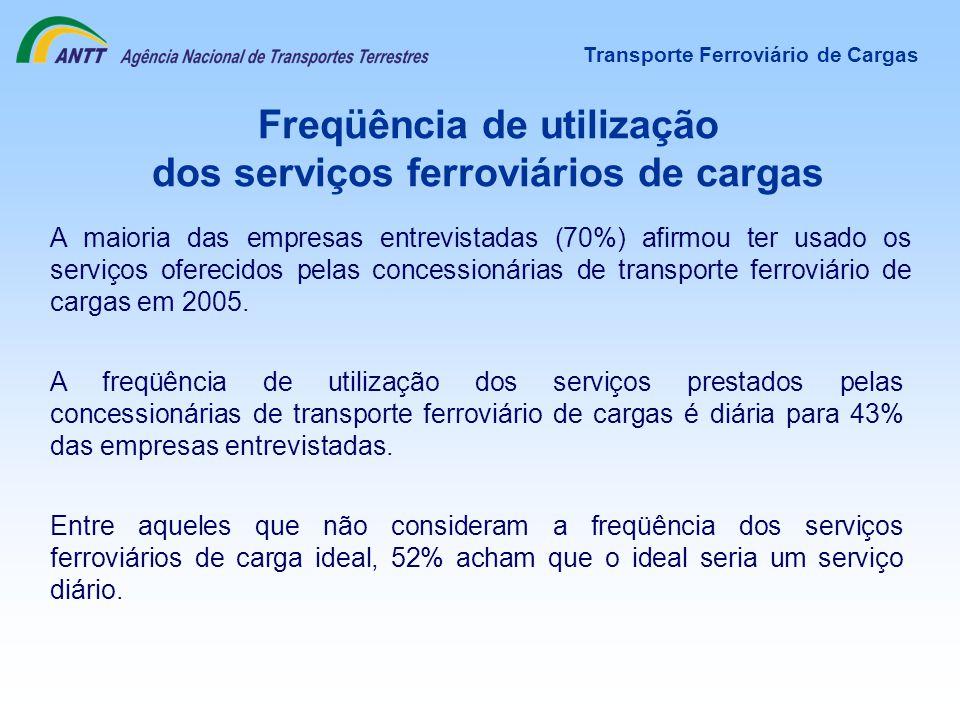 Freqüência de utilização dos serviços ferroviários de cargas A freqüência de utilização dos serviços prestados pelas concessionárias de transporte fer