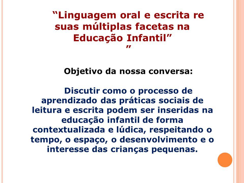 Linguagem oral e escrita re suas múltiplas facetas na Educação Infantil Objetivo da nossa conversa: Discutir como o processo de aprendizado das prátic