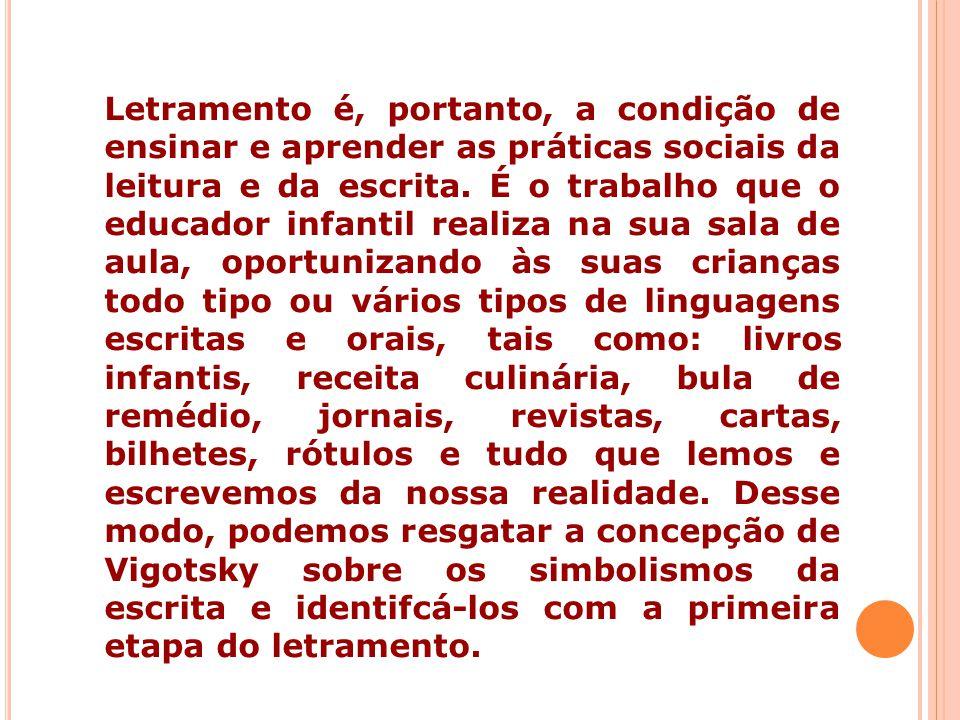 Letramento é, portanto, a condição de ensinar e aprender as práticas sociais da leitura e da escrita. É o trabalho que o educador infantil realiza na