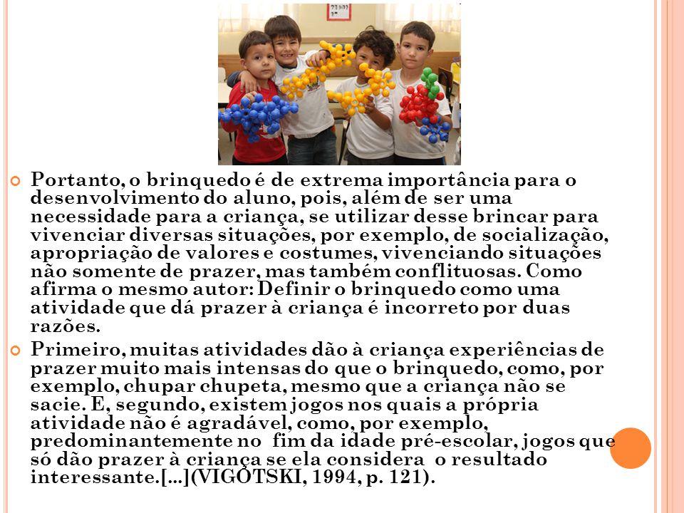 Portanto, o brinquedo é de extrema importância para o desenvolvimento do aluno, pois, além de ser uma necessidade para a criança, se utilizar desse br