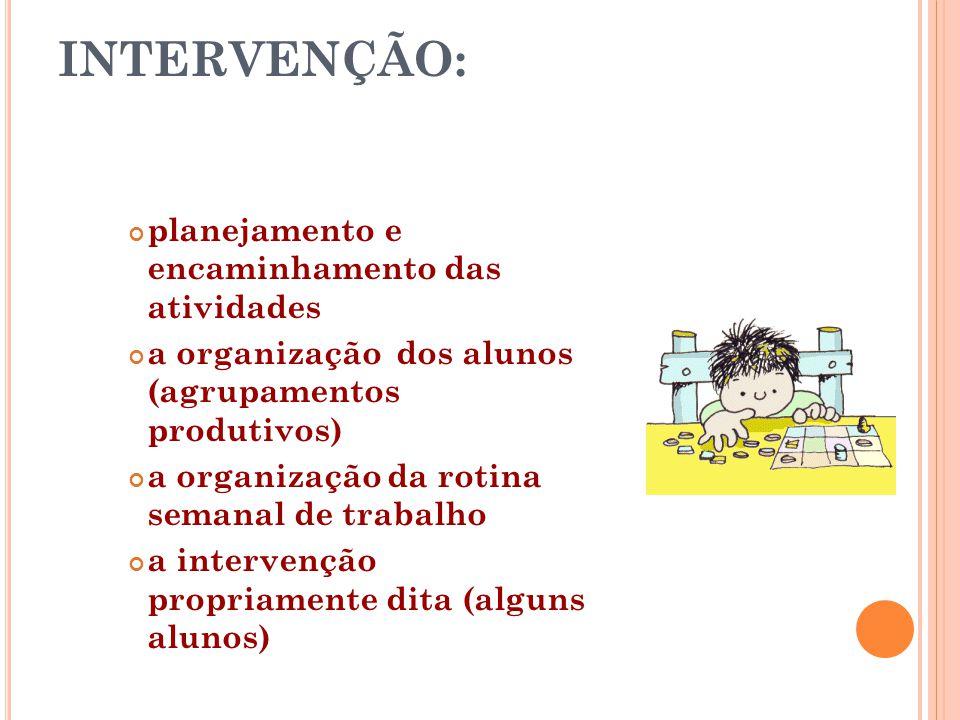 INTERVENÇÃO: planejamento e encaminhamento das atividades a organização dos alunos (agrupamentos produtivos) a organização da rotina semanal de trabal