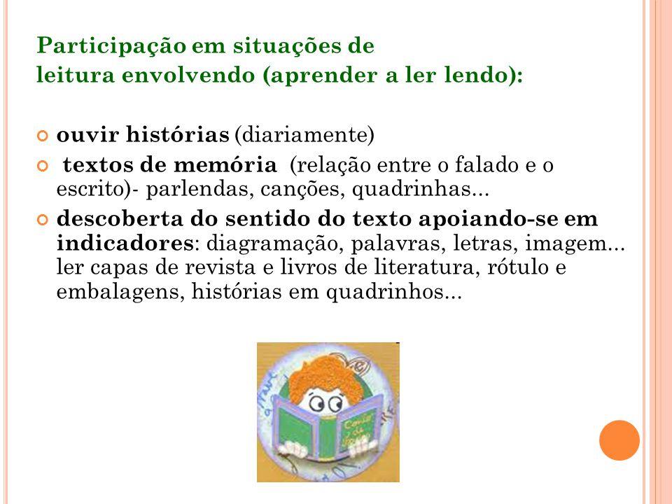 Participação em situações de leitura envolvendo (aprender a ler lendo): ouvir histórias (diariamente) textos de memória (relação entre o falado e o es