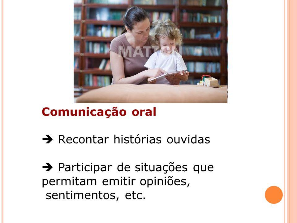 Comunicação oral Recontar histórias ouvidas Participar de situações que permitam emitir opiniões, sentimentos, etc.