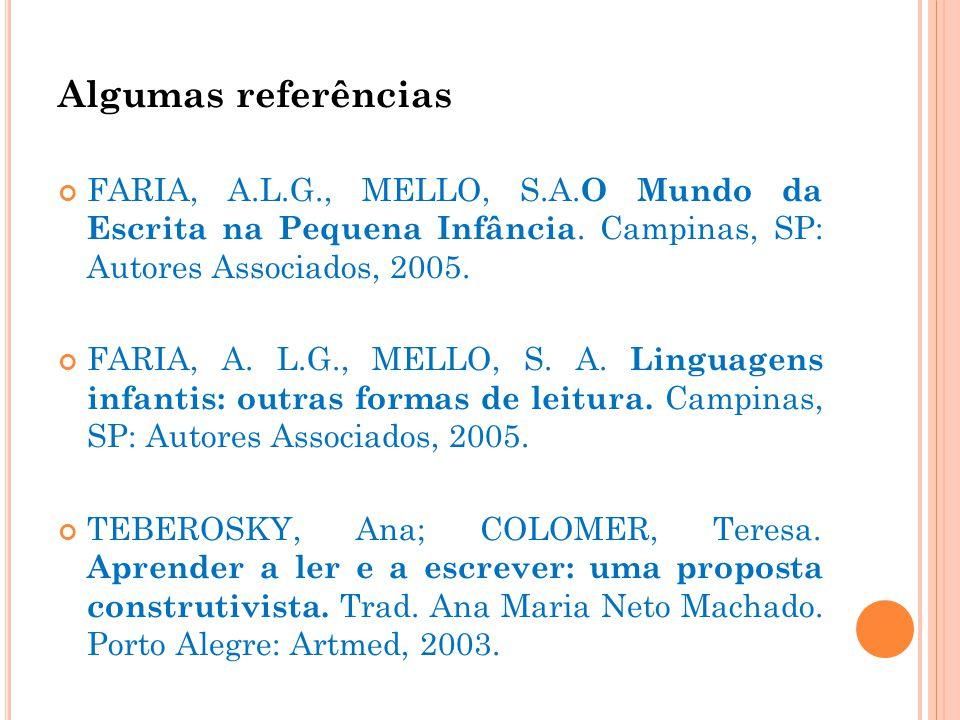 Algumas referências FARIA, A.L.G., MELLO, S.A. O Mundo da Escrita na Pequena Infância. Campinas, SP: Autores Associados, 2005. FARIA, A. L.G., MELLO,