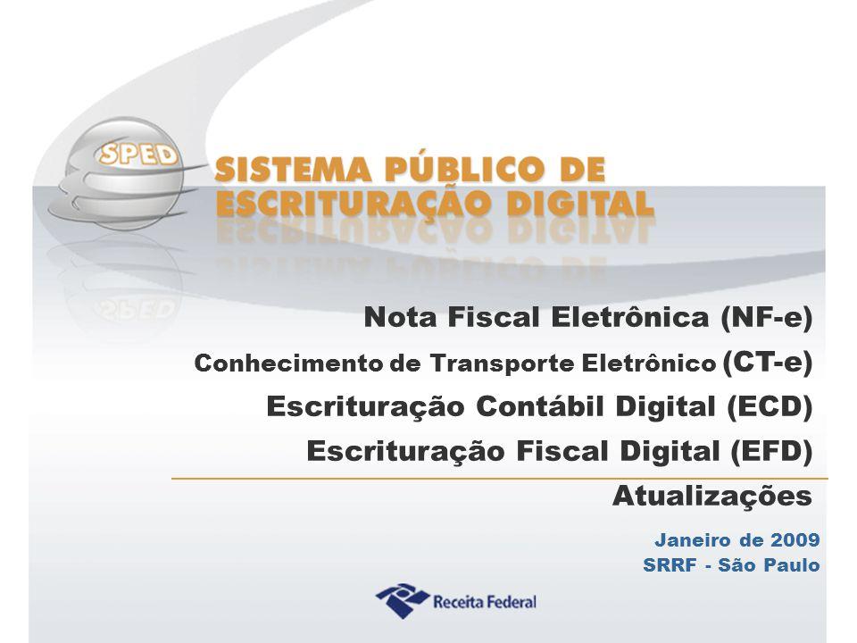 Sistema Público de Escrituração Digital Janeiro de 2009 SRRF - São Paulo Nota Fiscal Eletrônica (NF-e) Conhecimento de Transporte Eletrônico (CT-e) Es