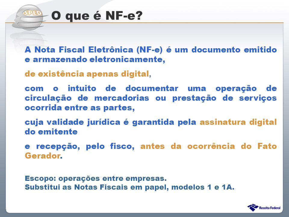 Sistema Público de Escrituração Digital A Nota Fiscal Eletrônica (NF-e) é um documento emitido e armazenado eletronicamente, de existência apenas digi