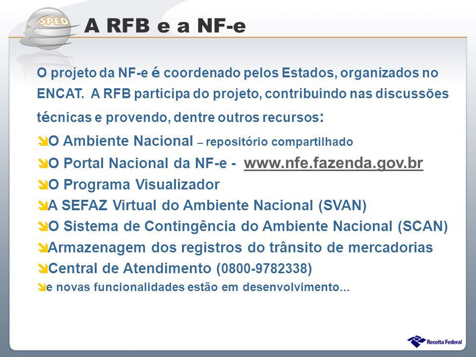 Sistema Público de Escrituração Digital O projeto da NF-e é coordenado pelos Estados, organizados no ENCAT. A RFB participa do projeto, contribuindo n