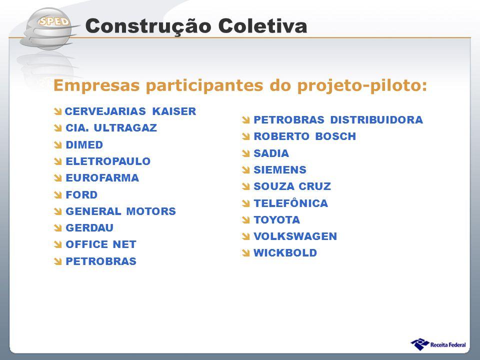 Sistema Público de Escrituração Digital Construção Coletiva Empresas participantes do projeto-piloto: CERVEJARIAS KAISER CIA. ULTRAGAZ DIMED ELETROPAU