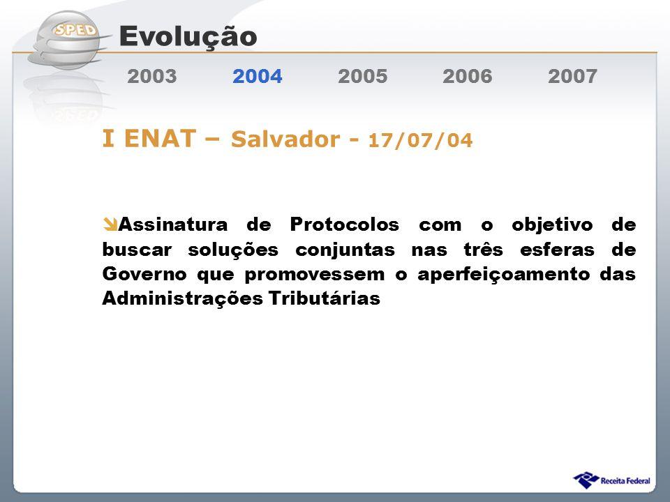Sistema Público de Escrituração Digital 2003 2004 2005 2006 2007 I ENAT – Salvador - 17/07/04 Assinatura de Protocolos com o objetivo de buscar soluçõ