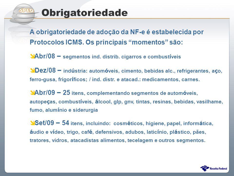 Sistema Público de Escrituração Digital A obrigatoriedade de adoção da NF-e é estabelecida por Protocolos ICMS. Os principais momentos são: Abr/08 – s
