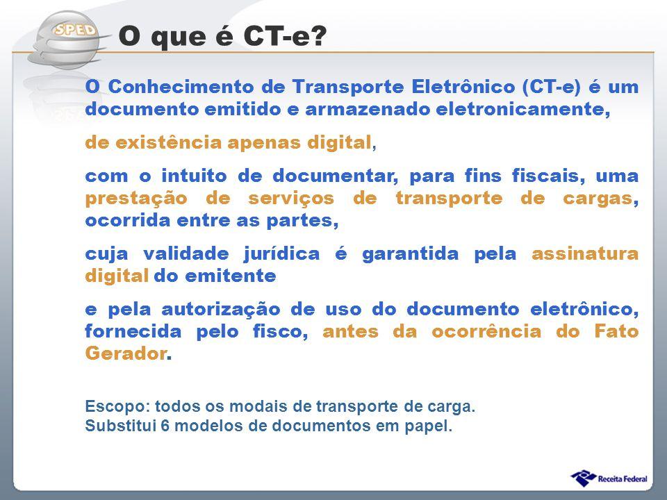 Sistema Público de Escrituração Digital O Conhecimento de Transporte Eletrônico (CT-e) é um documento emitido e armazenado eletronicamente, de existên