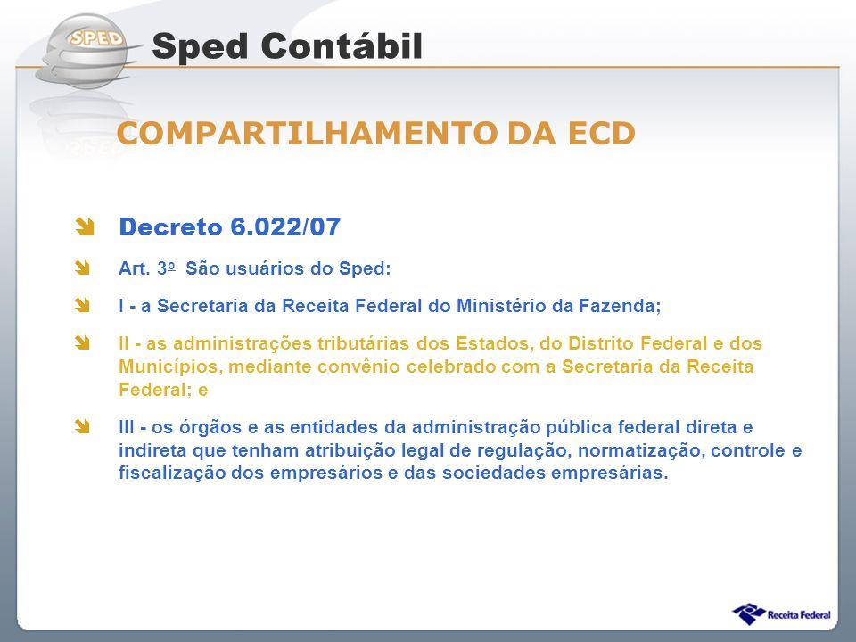 Sistema Público de Escrituração Digital Decreto 6.022/07 Art. 3 o São usuários do Sped: I - a Secretaria da Receita Federal do Ministério da Fazenda;