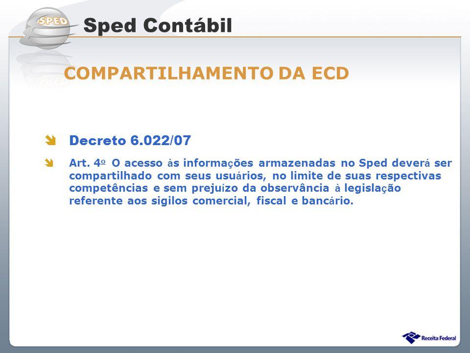 Sistema Público de Escrituração Digital Decreto 6.022/07 Art. 4 o O acesso à s informa ç ões armazenadas no Sped dever á ser compartilhado com seus us